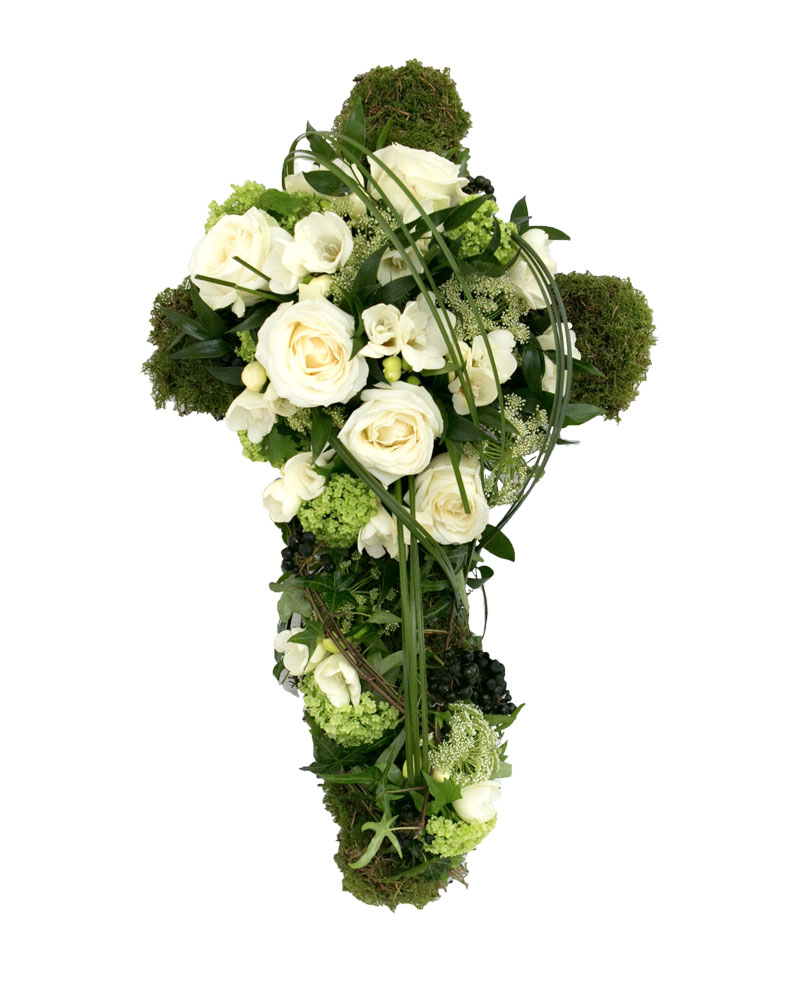 Textured moss cross funeral flower tribute order funeral flowers rose coffin and casket flower tribute izmirmasajfo