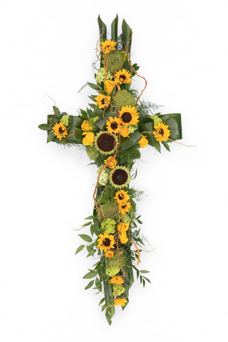 Contemporary cross funeral flower tribute order funeral flowers rose coffin and casket flower tribute izmirmasajfo