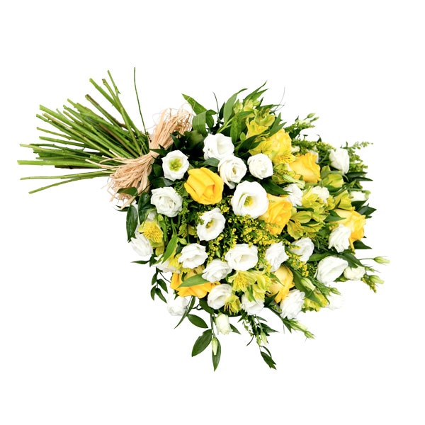 Yellow & White Tied Funeral Sheaf