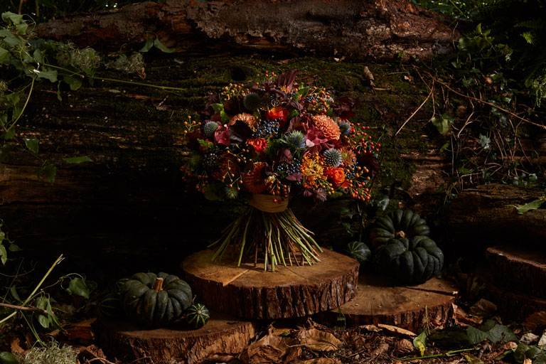 A bouquet with rich Autumnal hydrangeas, roses, viburnum and rose hips mixed with smoke bush and thistle